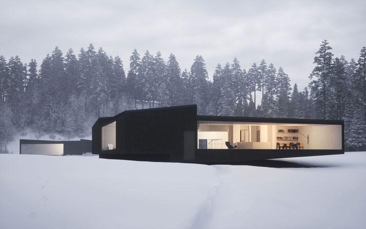 Twins villa design minimaliste for Oeuvre minimaliste