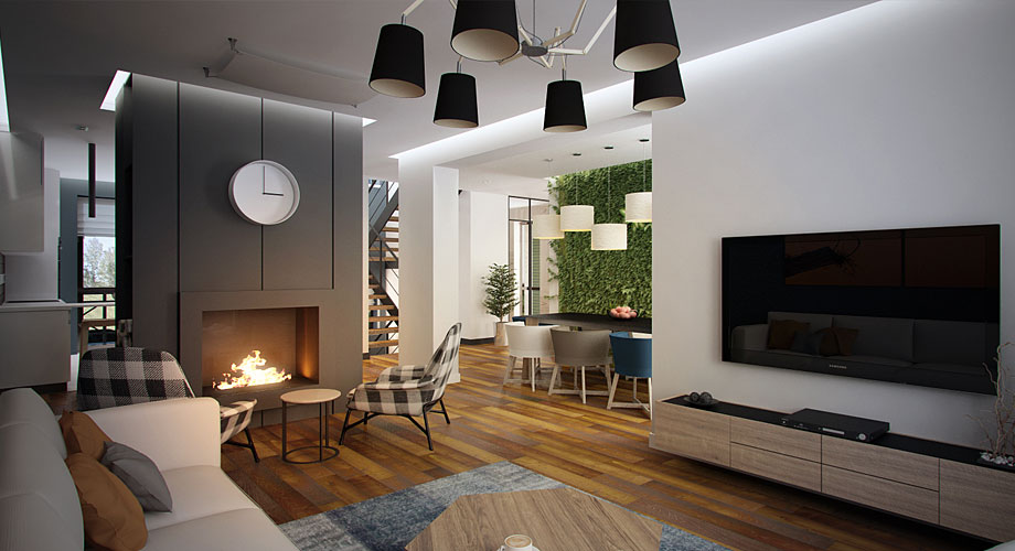 Amenagement maison contemporaine salon - Amenagement salon en l ...