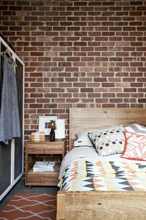 Chambre brique style loft for Chambre style loft