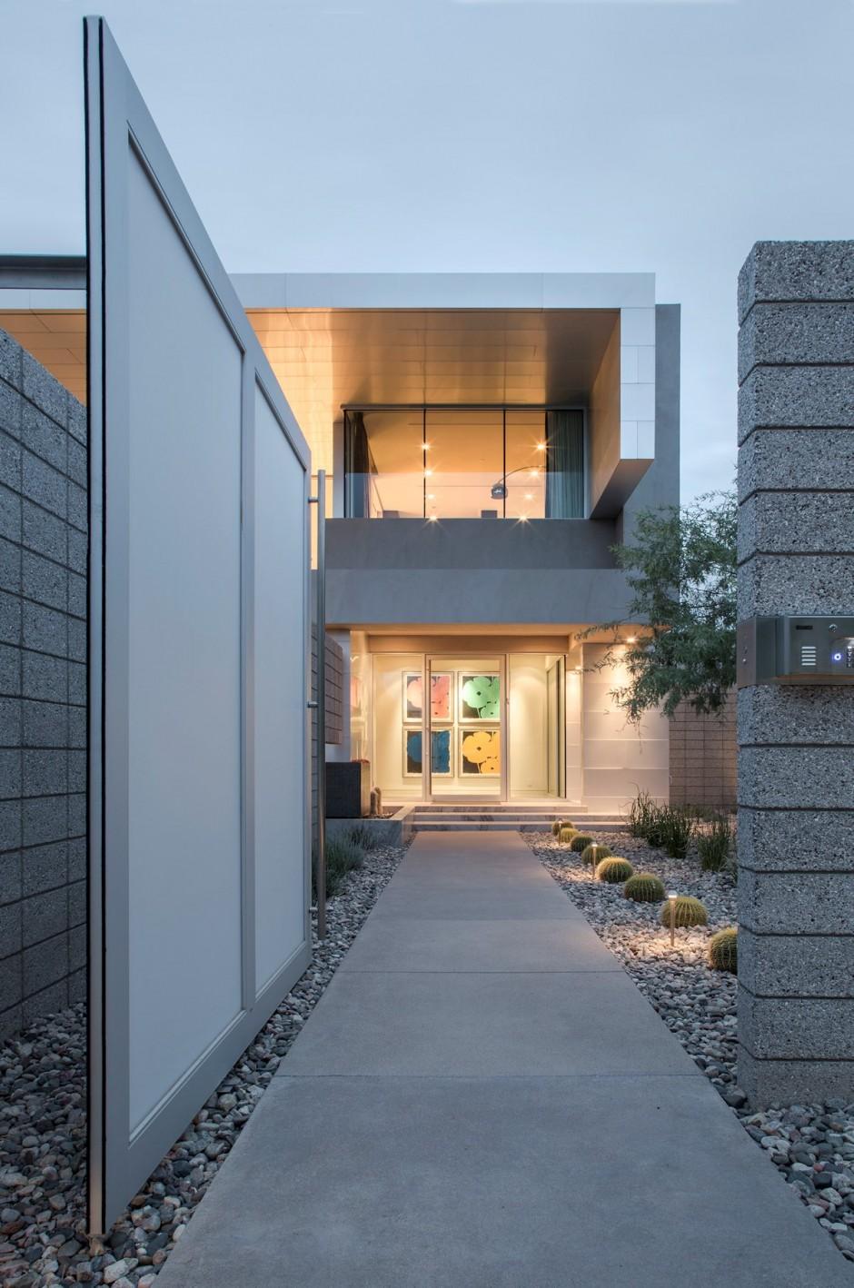 maison contemporaine cube arizona entree - Entree De Maison Contemporaine