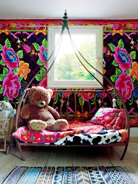 chambre-enfant-mur-fleur-gypsie