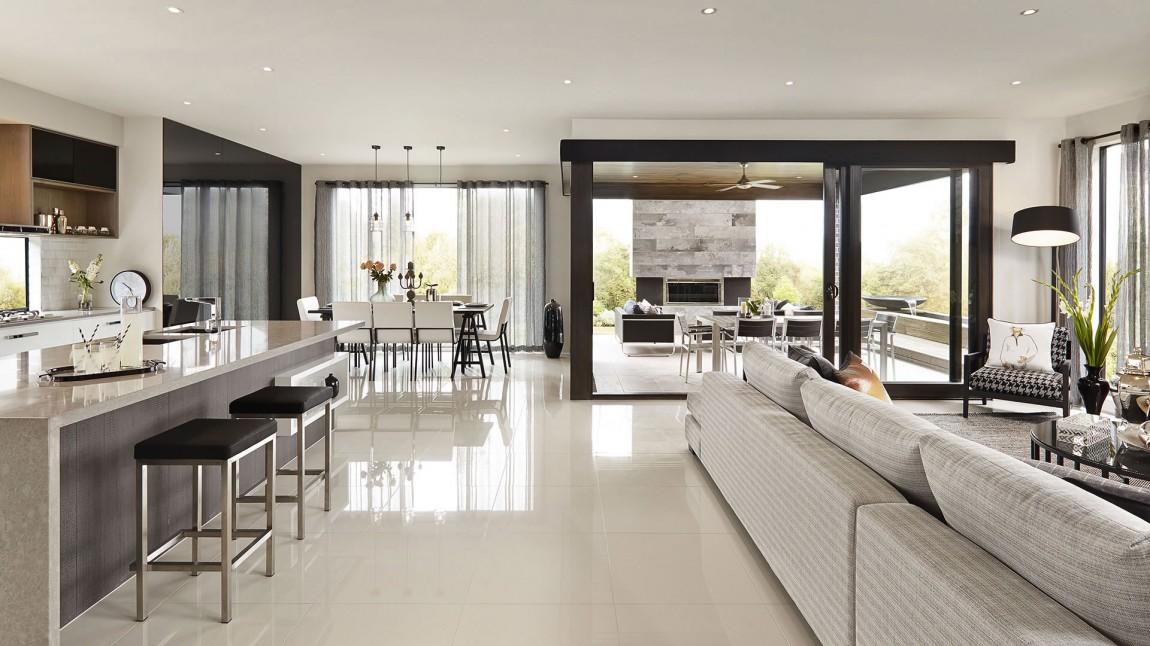 Interieur noir blanc baie vitree for Interieur noir et blanc