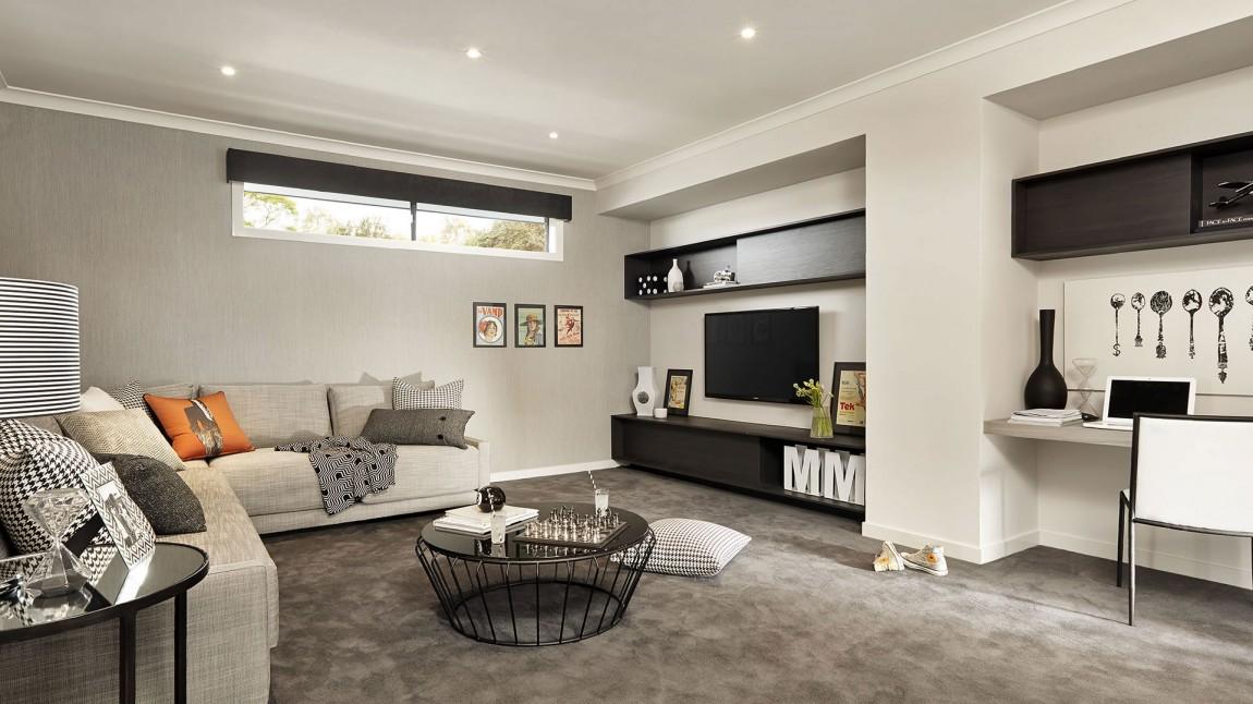 Interieur noir blanc salon meuble noir for Salon meuble noir