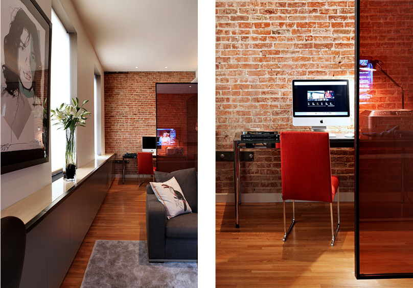 salon mur brique apparente. Black Bedroom Furniture Sets. Home Design Ideas