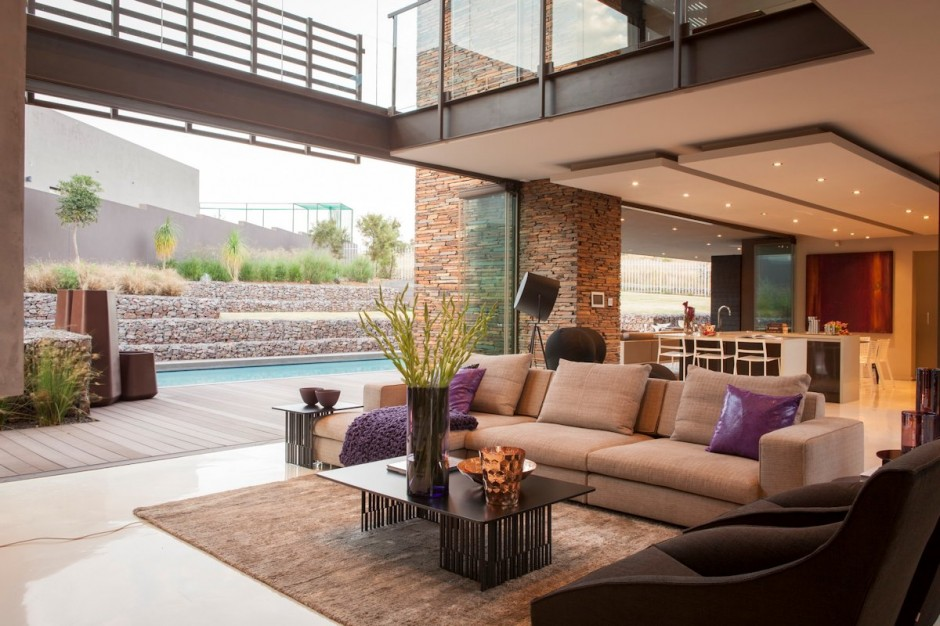 villa contemporaine salon ouvert sur terrasse