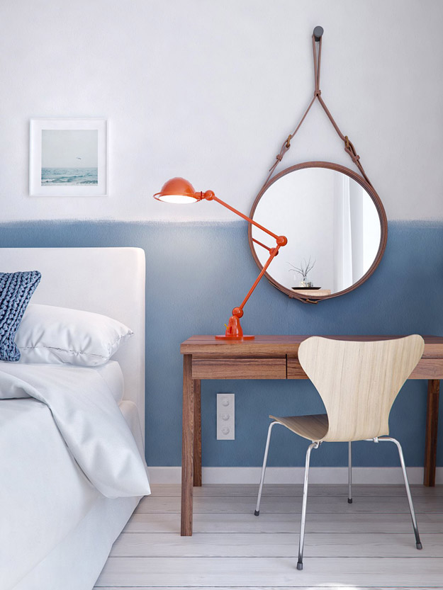 deco-chambre-mur-blanc-soubassement-peint