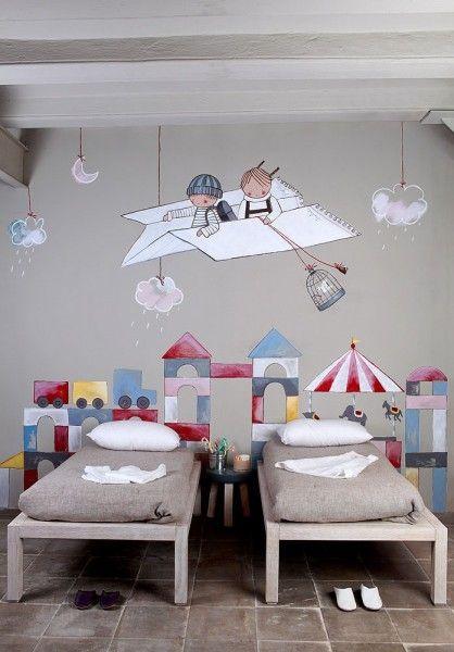 Chambre enfant originale deco fresque murale - Decoration murale chambre enfant ...