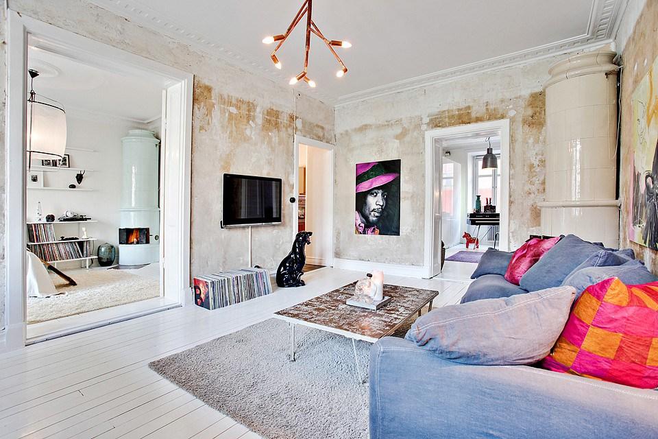 appartement design deco salonn canape poele. Black Bedroom Furniture Sets. Home Design Ideas