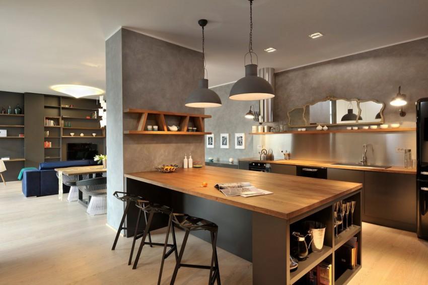 Cuisine gris bois ilot central for Cuisine en bois gris