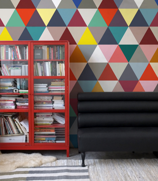 papier peint triangle colore minakani. Black Bedroom Furniture Sets. Home Design Ideas