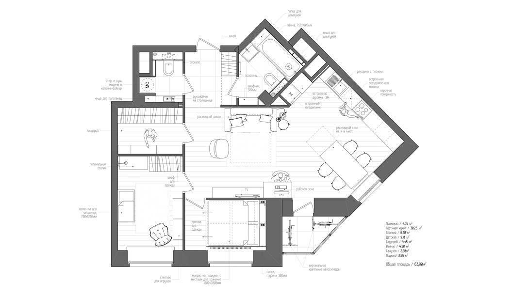 Am nagement d 39 un appartement de 60m2 - Plan appartement 40m2 ...