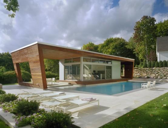 pool house design en bois. Black Bedroom Furniture Sets. Home Design Ideas