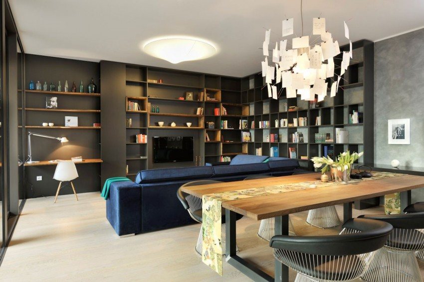 Appartement contemporain noir et bois for Salle a manger noir et bois