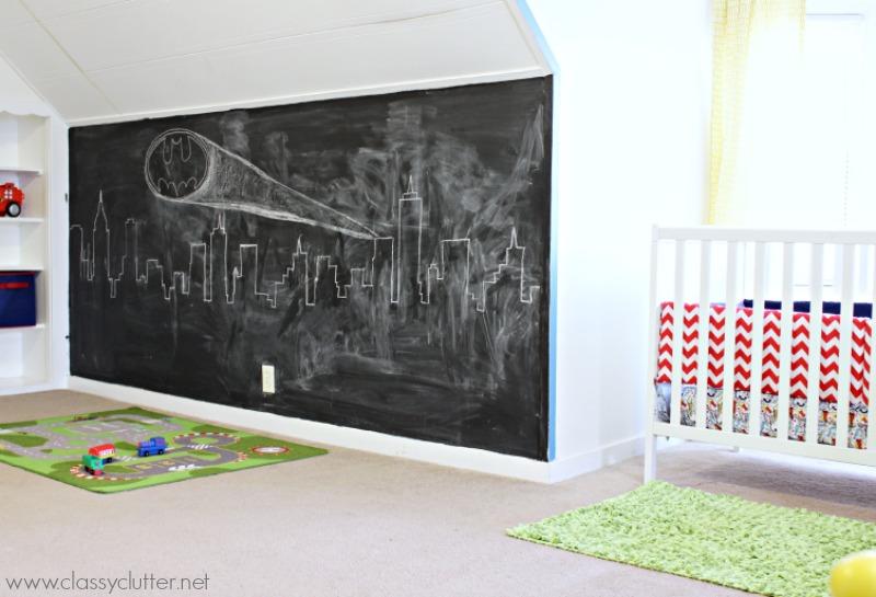 chambre-superheros-mur-tableau