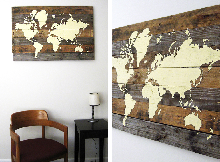 Assez tableau-bois-peint-map-monde YW39