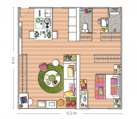 Am nagement d 39 un appartement de 40m2 for Appartement 45m2 design