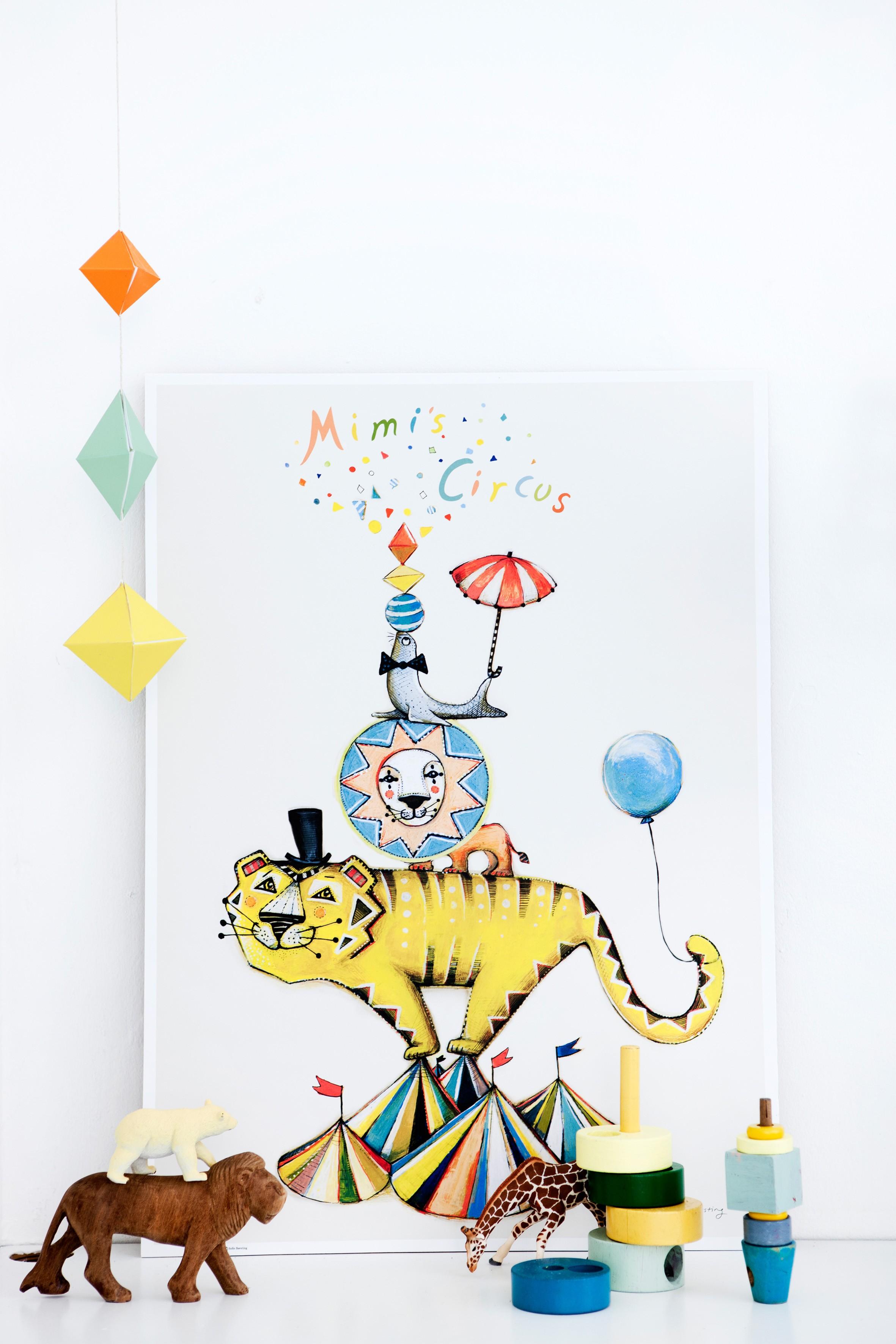 Deco chambre enfant poster origamis jouets bois mimis circus for Poster chambre enfant