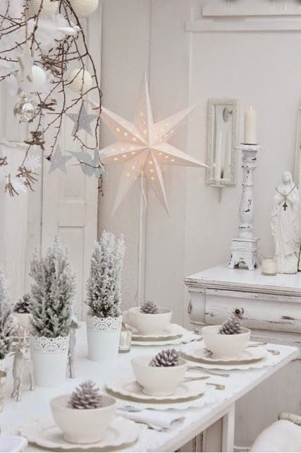 inspiration decoration table noel traditionnelle tout blanc. Black Bedroom Furniture Sets. Home Design Ideas