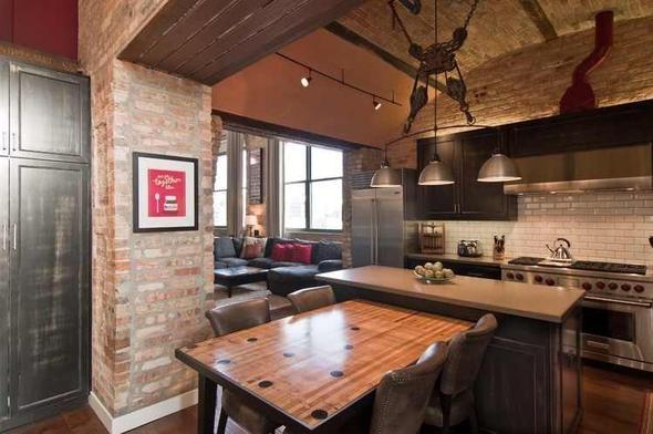 Loft Renove Mur Briques Apparentes Parquet Cuisine Design