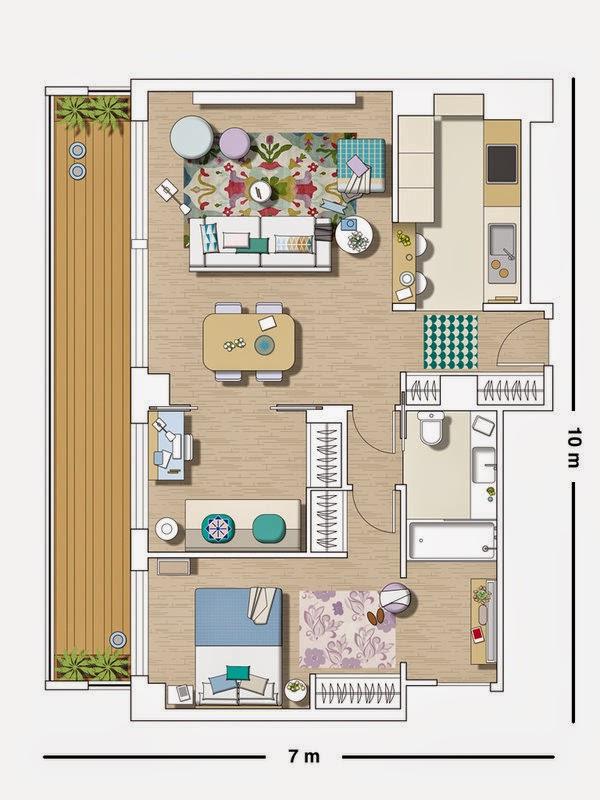 plan appartement 2 chambres. Black Bedroom Furniture Sets. Home Design Ideas