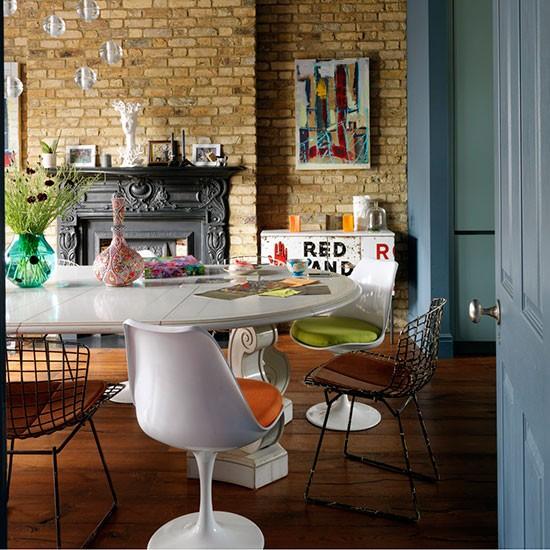 salle a manger vintage mur pierre. Black Bedroom Furniture Sets. Home Design Ideas