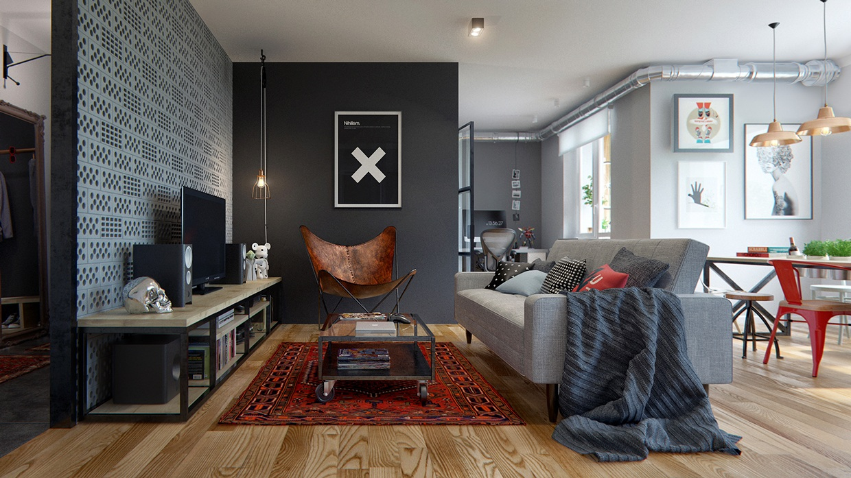 d coration urbaine pour un appartement de 70m2. Black Bedroom Furniture Sets. Home Design Ideas