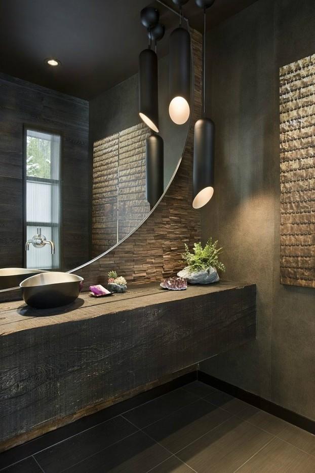 Salle bains brut miroir rond - Miroir salle de bain rond ...