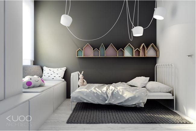 Murs gris dans une chambre d\'enfant