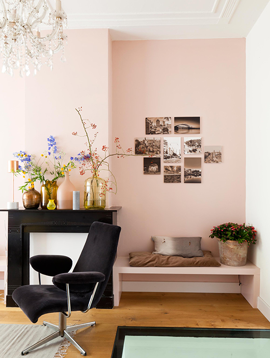coin cheminee mur rose pale. Black Bedroom Furniture Sets. Home Design Ideas