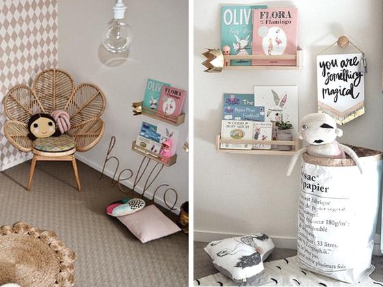 Teintes naturelles pour une chambre de fille for Rangement livre chambre