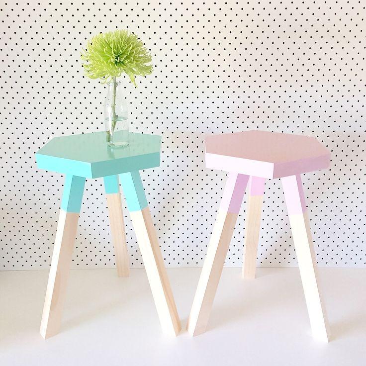 Tabouret hexagonal deco scandinave pastels - Deco scandinave pastel ...