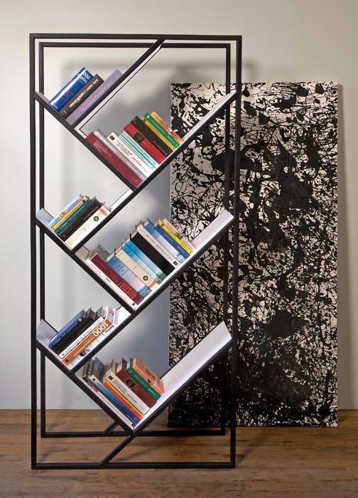 bibliotheque geometrique metallique noire design. Black Bedroom Furniture Sets. Home Design Ideas