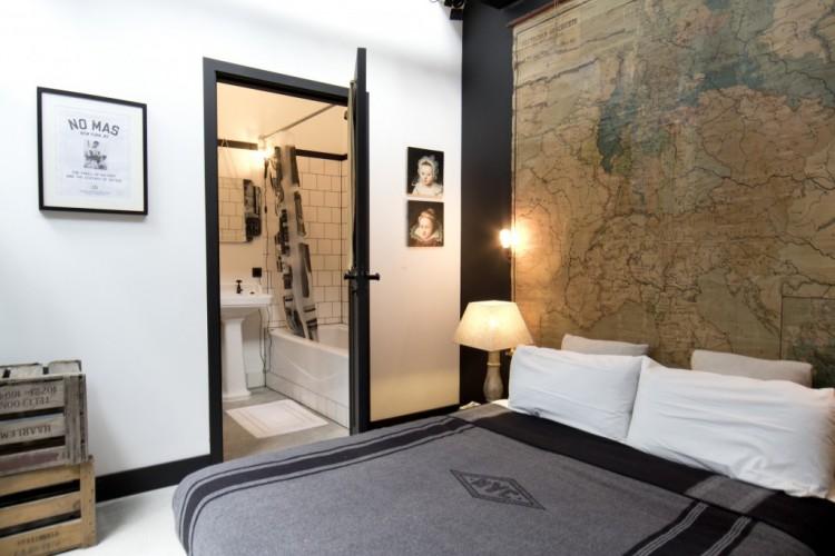 Chambre à la décoration style industriel et vintage