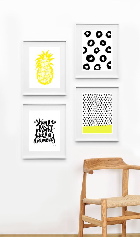 poster cadre ananas deco jaune noir serigraphie. Black Bedroom Furniture Sets. Home Design Ideas
