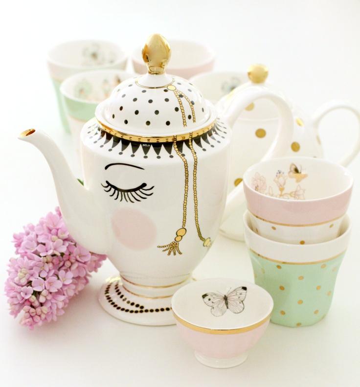 vaisselle originale porcelaine miss etoile theiere sucrier. Black Bedroom Furniture Sets. Home Design Ideas
