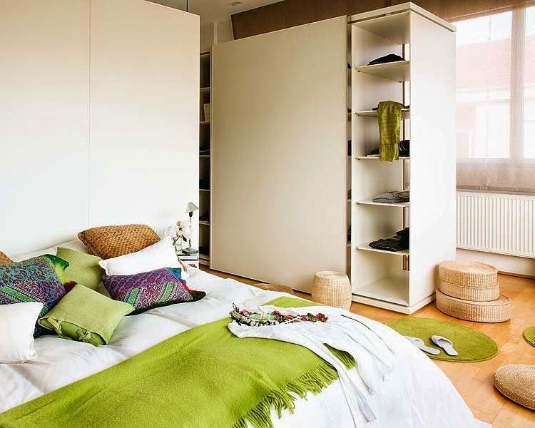 chambre avec des accents de couleurs vert anis