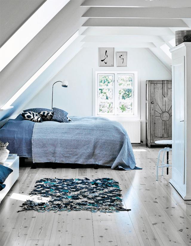 Chambre sous combles à la déco grise et bleue
