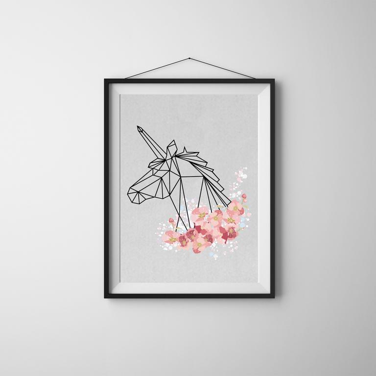 idee cadeau fete des meres deco cadre blanc dessin origami noir licorne fleurs petales cerisier rose. Black Bedroom Furniture Sets. Home Design Ideas