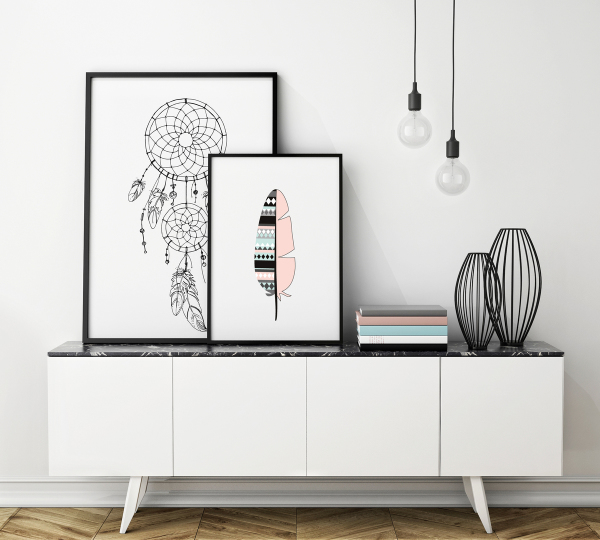 idee cadeau fete des meres deco cadre blanc dessin plume geometrique triangle couleurs pastels. Black Bedroom Furniture Sets. Home Design Ideas
