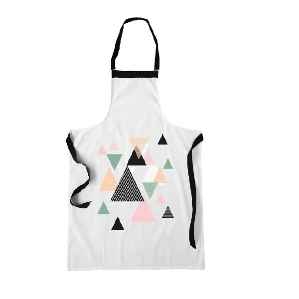idee cadeau fete des meres deco tablier blanc dessin geometrique triangle couleurs pastels rose. Black Bedroom Furniture Sets. Home Design Ideas