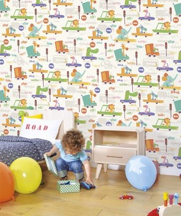 papier-peint-enfant-imprime-animaux-code-route-deco-murale