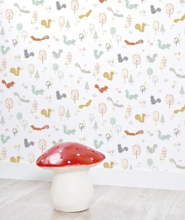 papier-peint-enfant-imprime-animaux-foret-deco-murale