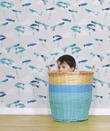 papier-peint-enfant-poissons-bleus-deco-murale
