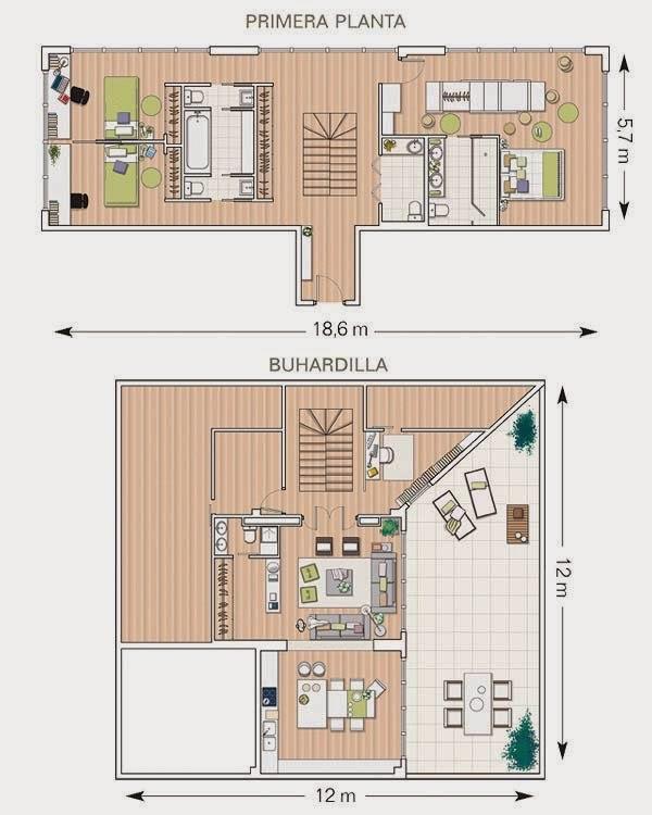 Plan d'un duplex sous combles