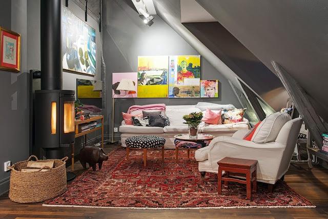 salon cosy sous combles. Black Bedroom Furniture Sets. Home Design Ideas