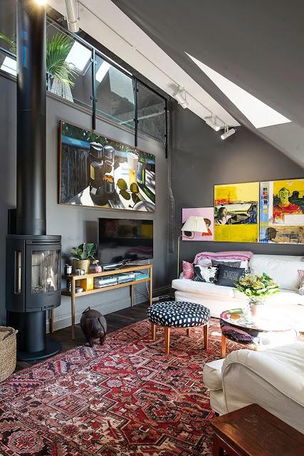 d co grise dans un appartement sous les combles. Black Bedroom Furniture Sets. Home Design Ideas