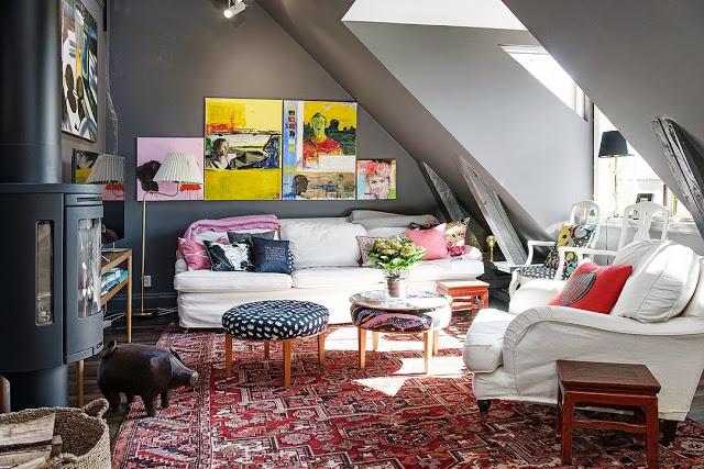 salon sous combles esprit boheme murs gris. Black Bedroom Furniture Sets. Home Design Ideas