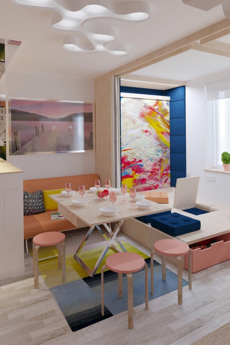 am nagements fonctionnels dans un studio. Black Bedroom Furniture Sets. Home Design Ideas