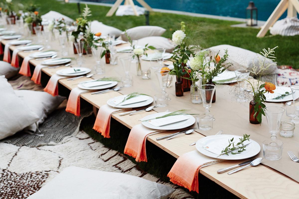 Idee pour pique nique elegant champetre piscine table