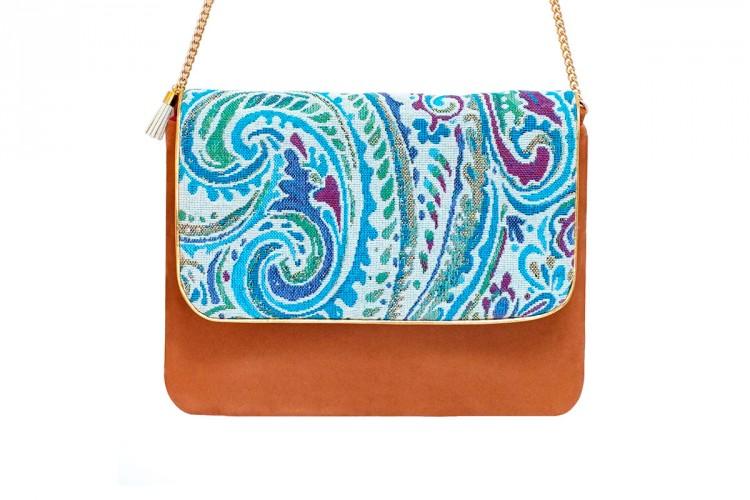 pochette-cuir-rose-toile-tissee-imprime-bleu-turquoise-anse-doree-mode-paulette-et-simone